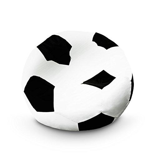 Lumaland Beanbag Puff Pelota de Fútbol - Sofa Grande Adulto, Infantil & Gamer para Comodidad Total - Sillón de Relax con Costuras Reforzadas y Relleno de Perlas EPS - 90x90x50 cm / 170 lt