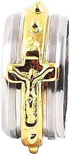 Legisdream Anillo crucifijo Hombre Rosario Imagen de Jesucristo Medida - Talla es 16 -
