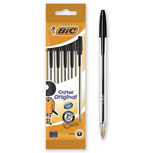 BIC Cristal Original - Bolígrafos punta media, 1.0 mm, Blíster de 5 unidades, Negro