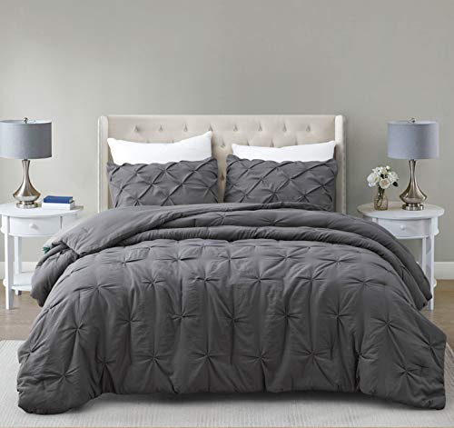SupraSoft Estellar 3pc Comforter Set Pinch Pleat | Charcoal Grey | Queen