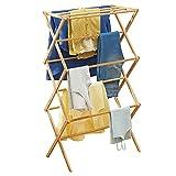 mDesign Tendedero de ropa plegable de bambú – Secador de ropa extensible con...