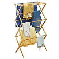mDesign Bamboo Clothes Rack – Pull-Out Clothes Airer with 3 Tiers – Space-Saving Clothes Horse with ...