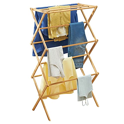 mDesign Tall Vertical Bamboo Foldable Laundry Drying Rack - Compact, Portable and Collapsible for Storage - Large Capacity for Laundry Room - Natural