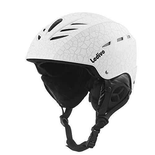 Ledivo Ski Helmet,Snowboard Helmet - Adjustable Venting, Goggles and Audio Compatible, Removable Liner and Ear Pads, Safety-Certified Snow Sports Helmet for Men, Women & Youth (White, Medium)