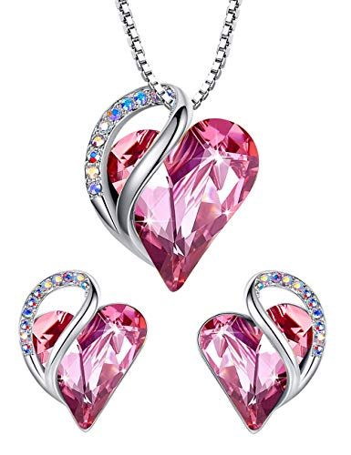 Leafael Infinity Love Heart Jewelry Set Bundle with Tourmaline Rose Pink Birthstone Crystal for October, Gifts for Women, Necklace & Earrings , Silver-tone