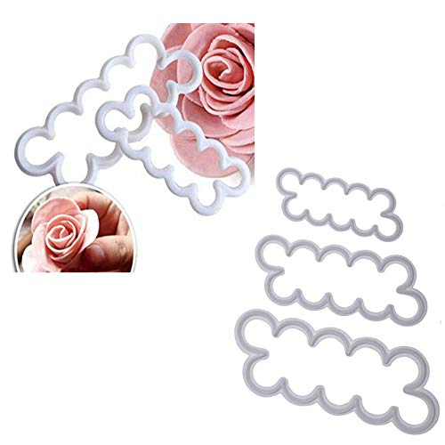 Smart Baking 3PCS 3D Rose Petal Cutter Mould I Cake Decorating Flower Fondant Mould I Perfect Cake Decorating Supplies Tools (3 Sizes)