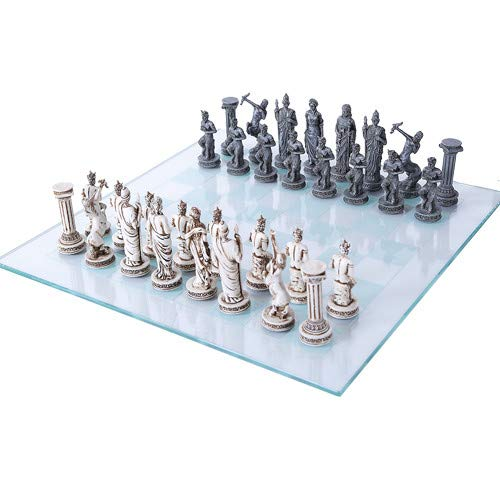 Pacific Trading Greek Mythology Chess Set with Glass Board
