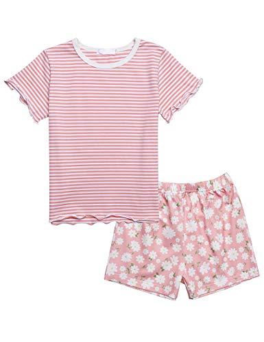 Bricnat Zweiteiliger Schlafanzug Mädchen kurz Streifen Drucken Kinder Pyjama Kurze Ärmel Nachtwäsche Sommer Baumwolle Rundhals 120Rosa Pink 116