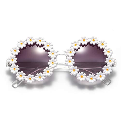 Dollger - Gafas de sol para mujer, diseño de margaritas redondas, con forma de flor, protección UV400