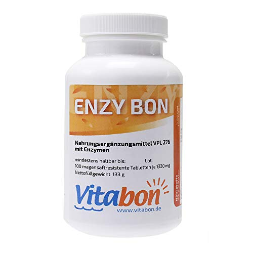 Enzy Bon hochdosiertes Multienzym 100 magensaftresistente Tabletten (ab sofort ohne Magnesiumstearat). Bromelain 900mg, Papain 1150mg, Trypsin, Alpha-chymotrypsin, Pankreatin, Amylase, Lipase