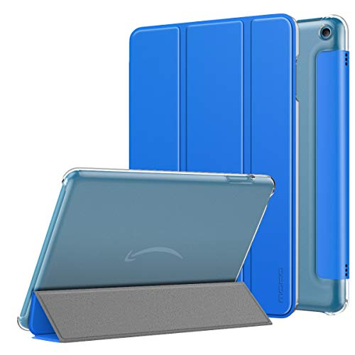 MoKo Case Compatible with All-New Kindle Fire HD 8 Tablet and Fire HD 8 Plus Tablet (10th Generation, 2020 Release), Smart Shell Stand Cover with Translucent Frosted Back, Blue