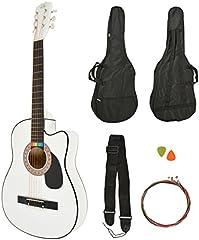 ts-ideen Western - Guitarra acústica, tamaño regular (4/4) con set de accesorios (bolso, cuerdas etc.), color blanco