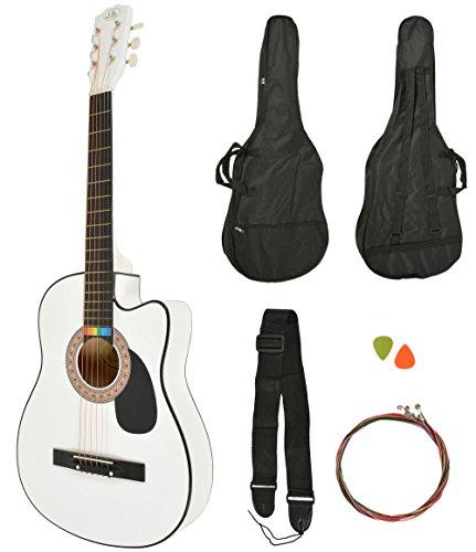 Akustik Western Gitarre Westerngitarre in Weiß + Gitarrentasche + Gurt + Saiten