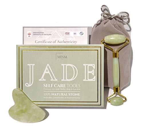 Premium Rodillo de De Jade y Gua Sha | Certificado auténtic