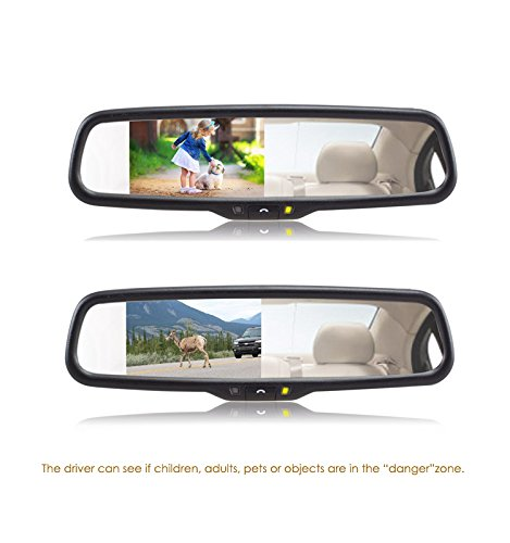 pantalla LCD de 4,3 pulgadas 11 cm y sistema de manos libres con Bluetooth para una conducci/ón segura Espejo retrovisor Auto-Vox con aspecto de equipo original para aparcar de forma segura