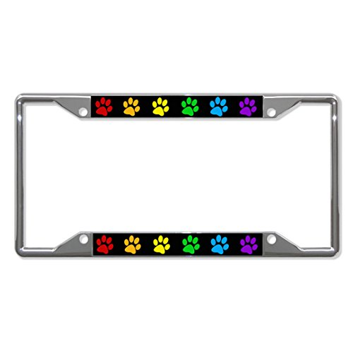 Fastasticdeals Rainbow Paw Gay Lesbian License Plate Frame Tag Holder Cover