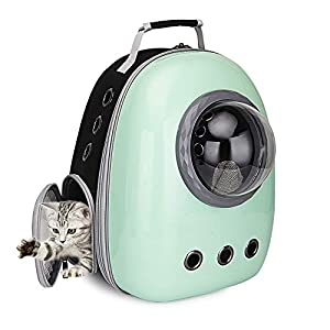 Portable Travel Pet Carrier Bubble Backpack for Dog and Cat Dome Airline Approved Space Capsule Waterproof Knapsack Outdoor Breathable Pet Bag (red+White+red)