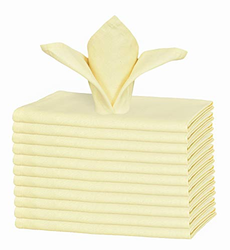 GLAMBURG Cotton Dinner Napkins Set of 12, Cloth Dinner Napkins 18x18, Soft and Comfortable Cocktail Napkins, Wedding Dinner Napkins, Christmas Napkins, Machine Washable - Light Yellow