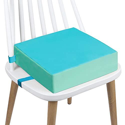 Sitzerhöhung Stuhl, AOIEORD PU Waschbar 2 Gurte Sicherheitsschnalle Sitzerhöhung Kinder für Esstisch, Tragbares Boostersitze (Blau-PU)