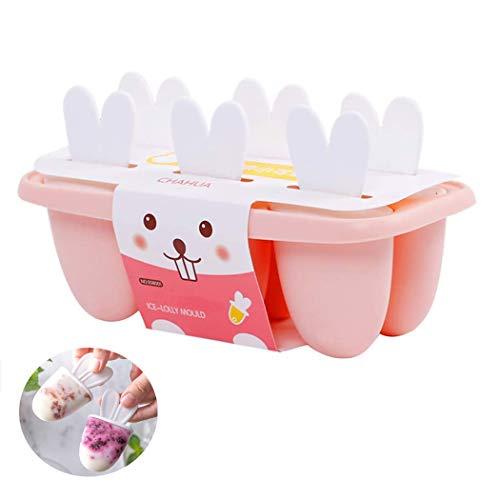 QYY Eisformen 6 Eisförmchen Popsicle Formen Set, Eisform Silikon, DIY Ice Pop Lolly Popsicle, Stieleisformer LFGB Geprüft und BPA Frei, Mini Eisformen für Kinder, Baby, Erwachsene