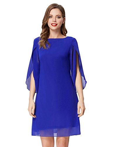 GRACE KARIN Women Loose Fit Evening Dress 3/4 Sleeve Beach Chiffon Dress for Cocktail Blue S
