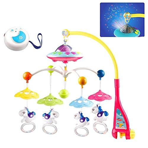 Rubyu Baby Musical - Móvil para bebé con proyector y luz para Cuna, Juguete para Colgar, sonajeros giratorios y Reloj de música controlado a Distancia para recién Nacidos, con Mando a Distancia