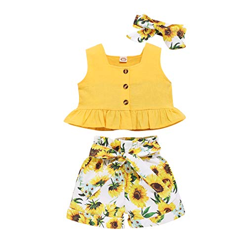 Newborn Baby Girl Clothes Long Sleeve Ruffle Romper Bodysuit Floral Halen Pants Bowknot Headband 3pcs Infant Toddler Outfits (Yellow-1, 12-18 Months)