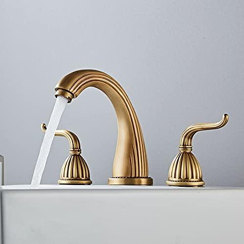 Grifo Grifo de lavabo Grifos de lavabo de baño de bronce antiguo Mezclador de lavabo generalizado de 3 orificios Grifo de agua fría y caliente de doble manija Nueva llegada