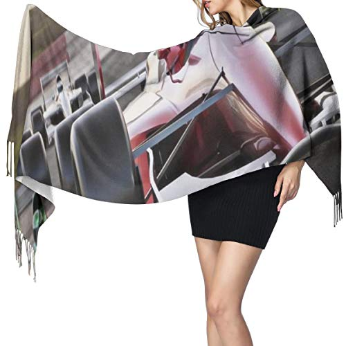 Womens Large Soft Cashmere-like Pashmina Shawls Wraps Scarf Speeding Red Race Car Close Up Front View On Track Leading The Pack Speedway Image Winter Warm Tassel Shawl Scarves