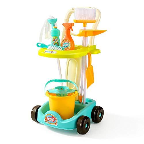 QIYA Fegen Spielzeug Reinigungs-Kit Werkzeugwagen Simulation Kinderspielhausreinigung Spielzeug