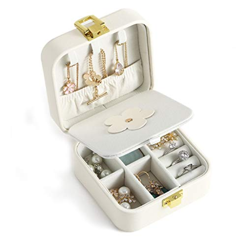 QIFFIY Portable Travel Jewelry Box Organizer Jewelry Ornaments Storage Case Earring Ring Necklace Storage Box (Color : White)
