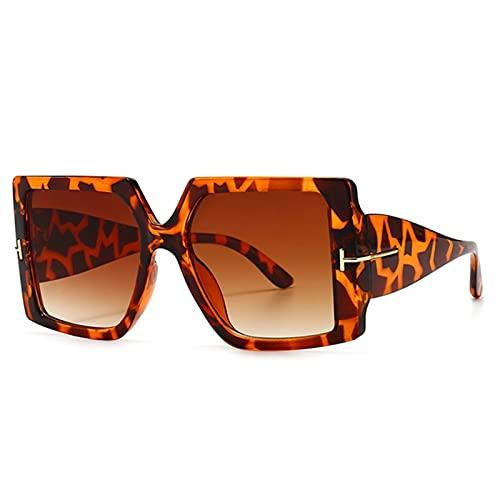 JIANCHEN Gafas de Sol Gafas de Sol cuadradas de Gran tamaño clásicas Mujeres Negro Leopardo Gafas de Sol gradiente Femenino Vintage Grandes Tonos UV400 (Color : 3)