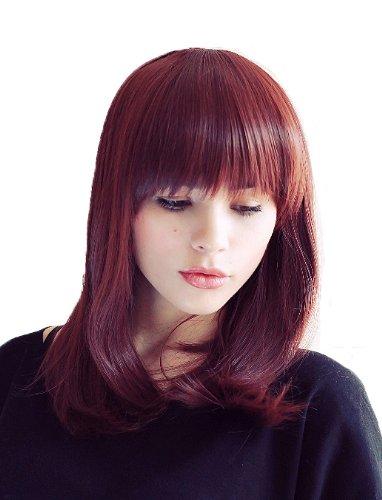 Prettyland Perruque femme Mi-Longue cheveux naturels mats Moyenne Rouge Acajou Chataîn Effet carré frange BoB C395