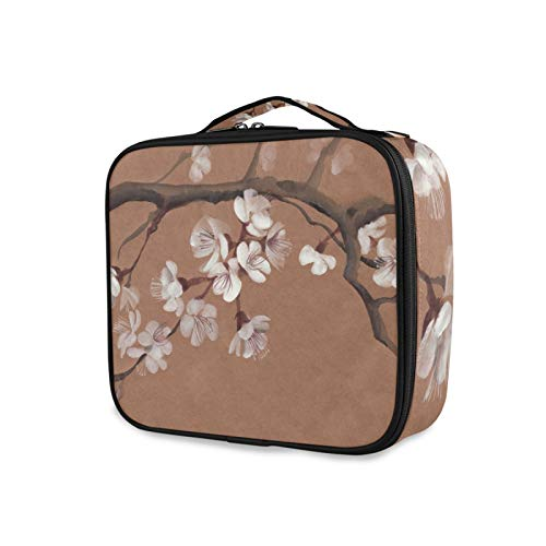 iRoad Personalised Makeup Bag Japanese Cherry Flower Cosmetic Case Adjustable Compartment Makeup Bags Organiser Large Toiletry Bag for Men Women