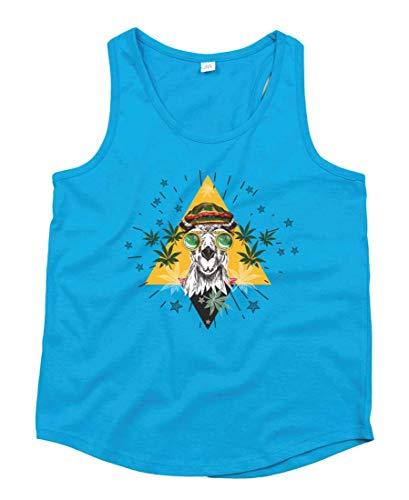Druckerlebnis24 Camiseta sin mangas con diseño de camel Marihuana, gafas Jamaica, unisex, para niños y niñas