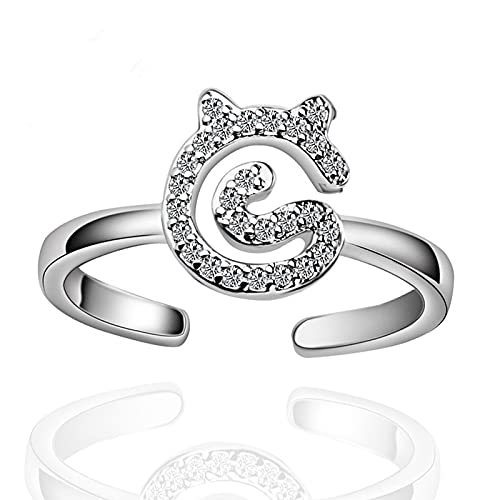 Anillo ZIYUYANG, plata de ley, circonita brillante, tamaño de gato lindo, anillo ajustable, joyería de mujer, cambiable