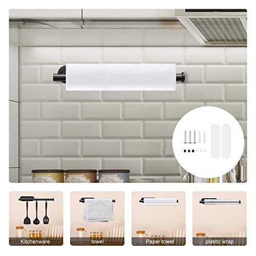 HaavPoois Toallero de papel de cocina, 1 unidad, toallero de papel, multifunción, de pared, de acero inoxidable 304, con 2 modos de instalación, color negro