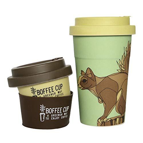 Gobelet à café en BAMBOU réutilisable|2 couvercles 2 manches inclus|Completament SANS plastique|Bouchons en bambou imbriquées, anti-gouttes et goût, meilleurs|Lave-vaisselle|Sans BPA & Phtalates|400ml