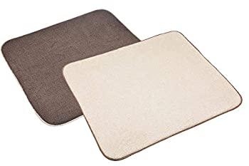 Sinland Microfiber Dish Drying Mat Super Absorbent Dish Drying Rack Pads Kitchen Counter Mat 16Inch X 18Inch Brown & Cream 2 Pack