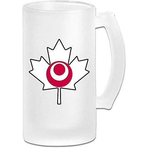 Okinawa Flag Canada Maple Leaf Frosted Glass Stein Beer Mug - Taza de pub personalizada personalizada - Regalo para su bebedor de cerveza favorito