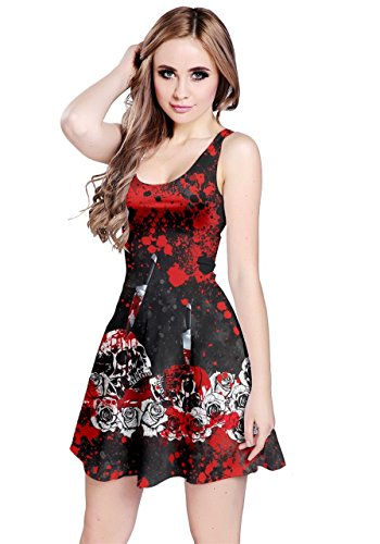 CowCow Womens Bloody Skull Sleeveless Dress, Red - L -  CowCow-125701908-L