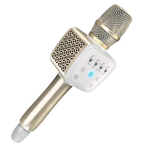 TOSING 008 Micrófono de Karaoke Inalámbrico Bluetooth, Potencia de Volumen Más Alta 10W, Más Bajo, 3-en-1 Máquina de Micrófono Portátil de Altavoz Portátil para iPhone/Android/iPad/PC (black)