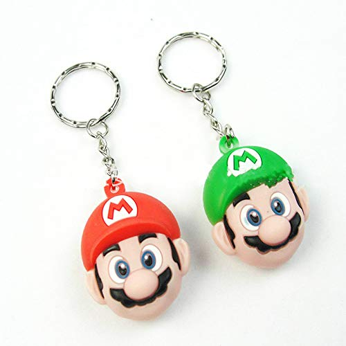 Mario Juguetes 2pcs 6cm Super Mario Figura De Acción Cartoon Key Ring 3D PVC Mario Luigi Llave Cadena Juguete Muñeca Colgantes Llavero Coche Llavero Soporte De Anillo