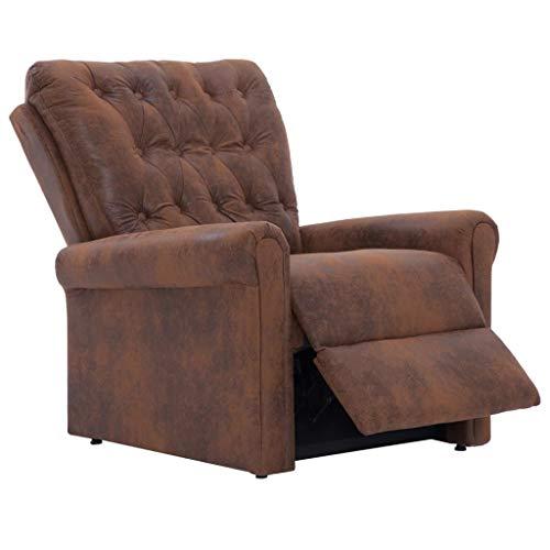 Festnight- Liegesessel Relaxsessel Sessel Fernsehsessel Wohnzimmer Sitzkomfort Braun Wildleder-Optik