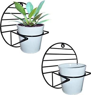 Ascent Homes Wall Mount Metal Planter Stand with Round Galvanized Bucket Planter (Set of 2 Pcs)