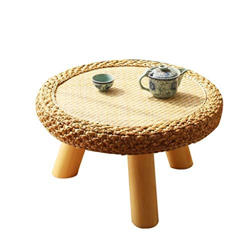 Tables Basse Ronde Salon Basse Baie Vitrée Rotin Basses en Bois Massif Tatami Simple De Sol D'ordinateur Basses (Color : Wood Color, Size : 50 * 30 * 23cm)