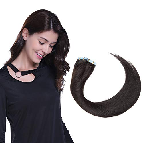 40 Pcs Extension Adhesive Naturel #1B NOIR NATUREL - Rajout Vrai Cheveux Humain Bande Adhesive Type Fin - 60CM (1.5g*40pcs)