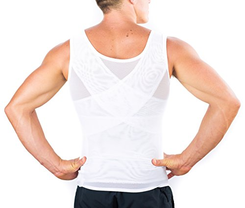 『(Large, White) - Esteem Apparel Original Men's Compression Shirt to Hide Gynecomastia Moobs Chest Slimming Body Shaper Undershirt』の3枚目の画像