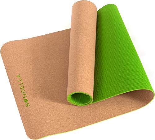 Bondella® Ahimsa Kork Yoga Matte - Premium Yogamatte rutschfest aus Kork & TPE - 183 x 61 cm - 5mm Dicke - Nachhaltige Yogamatte Kork mit Tragegurt -...