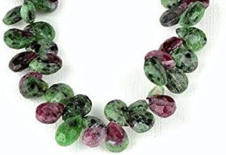 Ruby Zoisite - Briolettes con forma de lágrima facetada (10 gemas de 9,7 mm a 11,7 mm), color rubí
